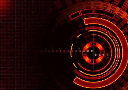 red line: Abstract Technology Circles Background - Futuristic Illuminated Illustration, Vector