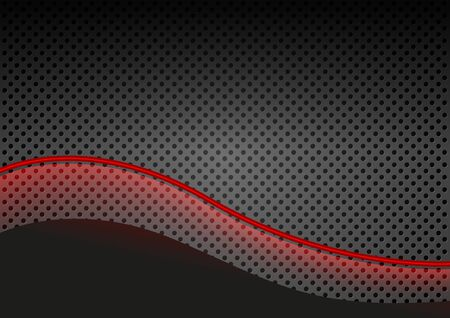 black and red: Glowing Red Line over Dotted Metallic Background - Abstract Illustration, Vector
