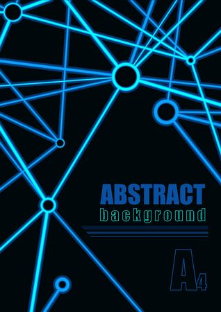lines vector: Abstract Connection Background - Neon lines on a Black Background, Vector