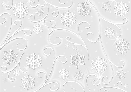 Christmas White Decoration - Snowy Background with Florals and Snowflakes, Illustration