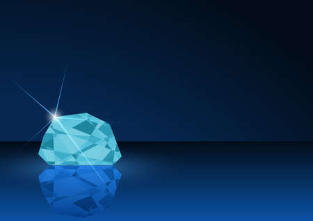 gemstone: Diamond Card Illustration - Background with Gemstone in Blue Tones, Vector Illustration