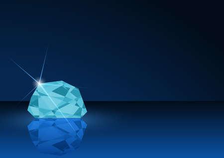Diamond Card Illustration - Background with Gemstone in Blue Tones, Vector Illustration