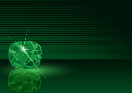 gemstone background: Emerald Card Illustration - Striped Background with Gemstone in Green Tones, Vector