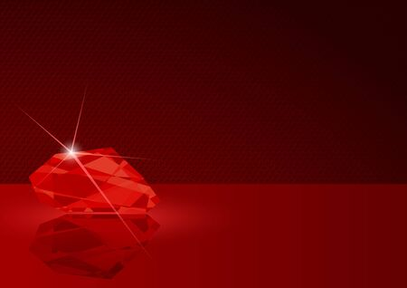 ruby red: Ruby Card Illustration - Dotted Background with Gemstone in Red Tones, Vector