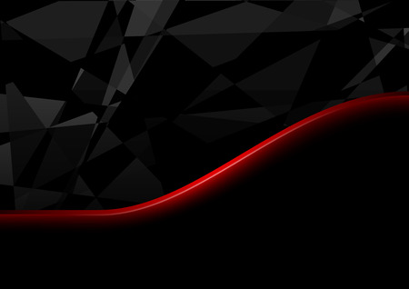 red line: Black Crystals Background and Red Line - Abstract Illustration