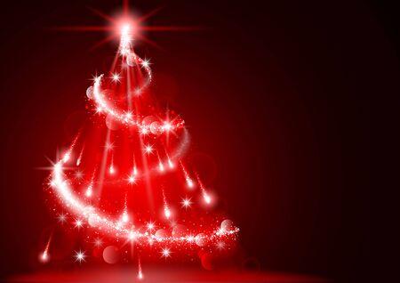 christmas tree illustration: Abstract Lightning Christmas Tree - Background Illustration