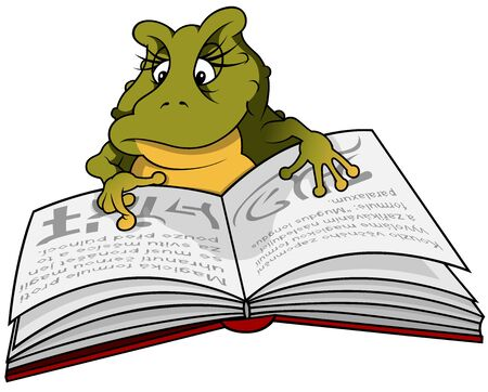 reads: Frog Reading Book - Cartoon Illustration, Vector