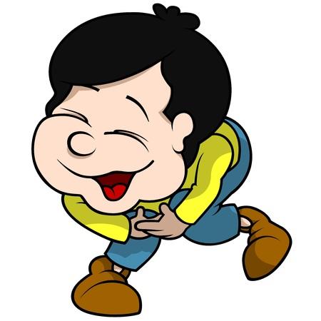 schooler: Boy Laughing - Cartoon Illustration, Vector