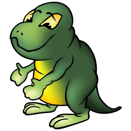 saurian: Green Brontosaurus - Colored Cartoon Illustration, Vector
