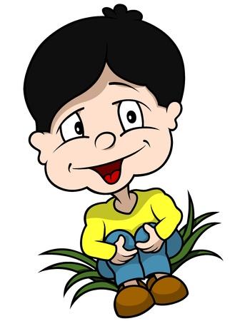 schooler: Boy Sitting On Grass - Cartoon Illustration, Vector Illustration