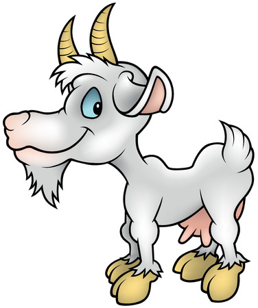 udder: White Goat - Colored Cartoon Illustration, Vector