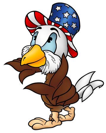 patriot: Eagle Patriot - Cartoon Illustration, Vector