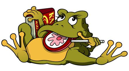 lollypop: Frog With Lollypop And Book - Cartoon Illustration, Vector
