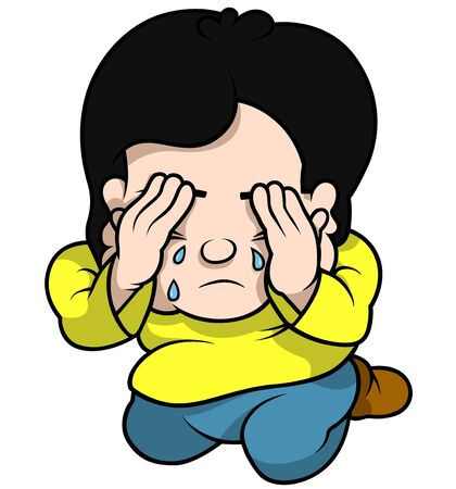 lad: Boy Crying - Cartoon Illustration, Vector