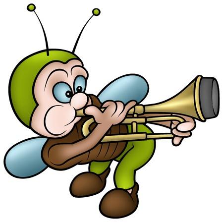 trombon: Bug tocando un tromb�n - ilustraci�n de dibujos animados color, vector Vectores