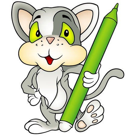 pencil drawing: Gray Kitten Holding Marker - Colored Cartoon Illustration, Vector