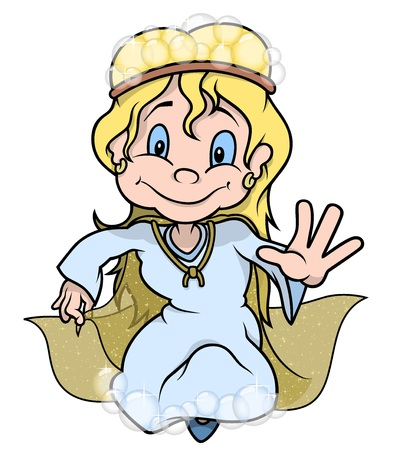 fairy: Fairy With Bubbles - Colored Cartoon Illustration, Vector Illustration