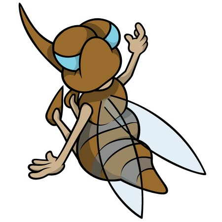 Mosquito Sitting Back - Cartoon Illustration, Vector