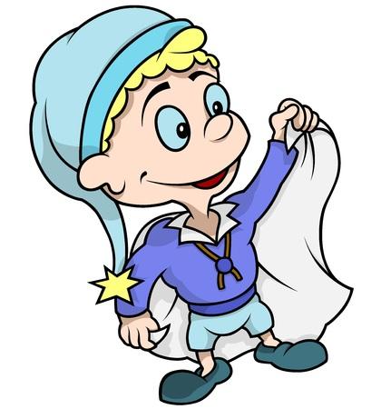 enano: Poco Enano azul - color de dibujos animados, vector