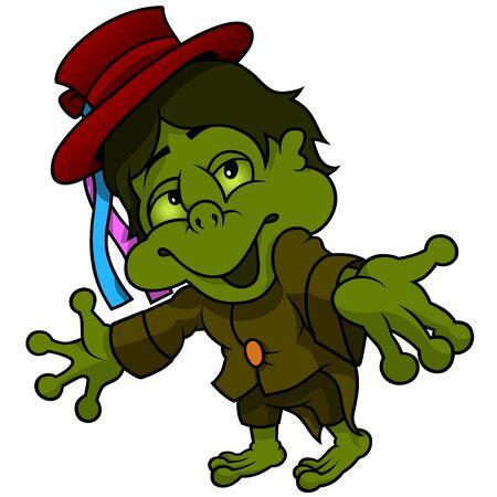 goblin: Little Water Goblin - Colored Cartoon Illustration, Vector