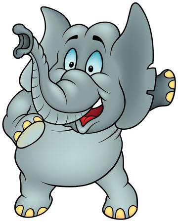 gesticulation: Talking Elephant - Colored Cartoon Illustration, Vector Illustration