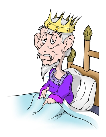 lying in bed: Old King In Bed - Cartoon Illustration, Vector Illustration