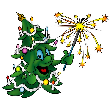 christmas tree illustration: Happy Christmas Tree - Cute Cartoon Illustration, Vector Illustration