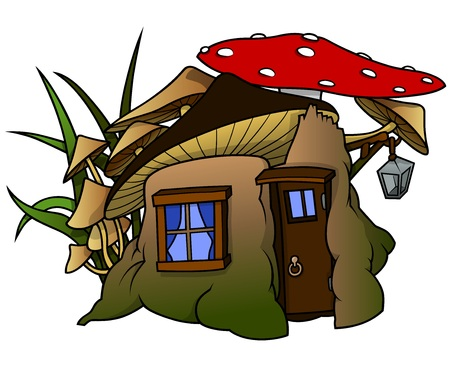 house fly: Elf House - Cartoon Illustration, Vector