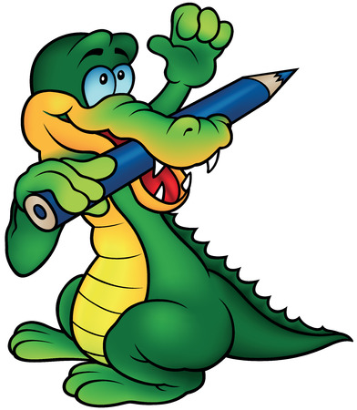 gnaw: Crocodile Painter with Hand Up - Colored Cartoon Illustration, Vector