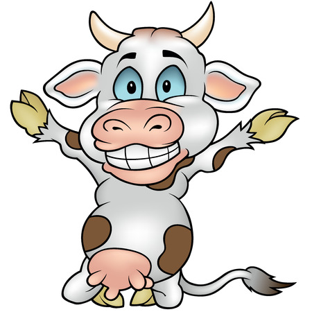 blotched: Happy Blotched Cow - Colored Cartoon Illustration, Vector