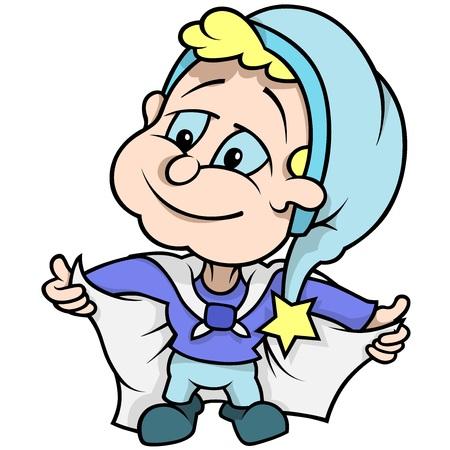 dwarf: Blue Little Dwarf - Colored Cartoon Illustration, Vector