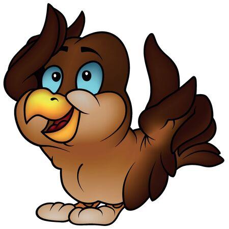 birds cartoon: Brown Sparrow Pointing - Colored Cartoon Illustration, Vector