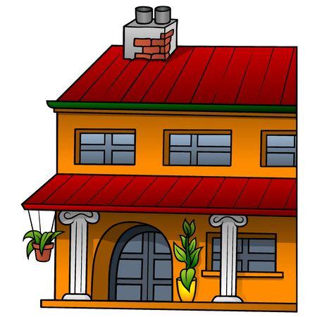 villas: Orange House - Cartoon Illustration, Vector