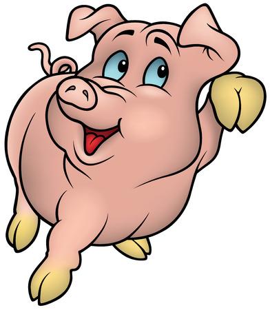 Pink Piggy - farbige Cartoon Illustration, Vektor