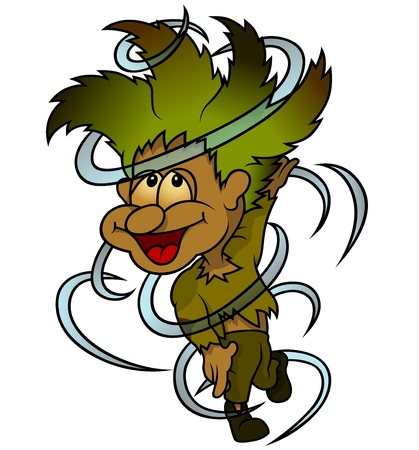whirlwind: Forest Elf And Whirlwind - Cartoon Illustration, Vector Illustration