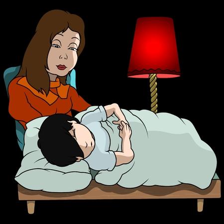 soporific: Mom And Sleeping Boy - Cartoon Illustration, Vector