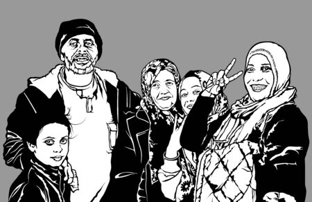 fictional: Refugees Group from Syria - Black and White Fictional Illustration, Vector