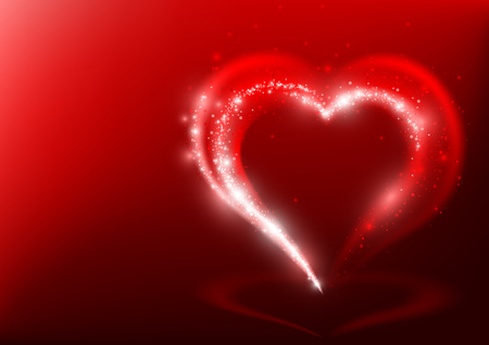light beams: Heart Shape from Light Beams over Red Background - Abstract Illustration, Vector