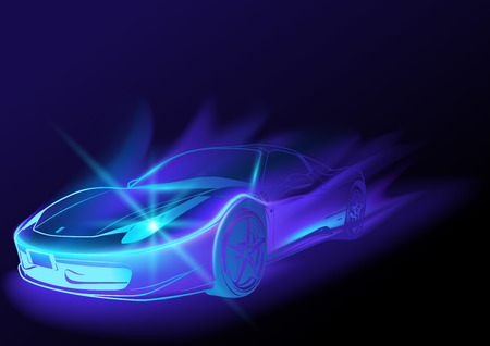 speed car: Blue Glowing Car with Blue Flames - Abstract Illustration, Vector Illustration