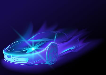 Blu brillante auto con Blue Flames - illustrazione astratta, Vector