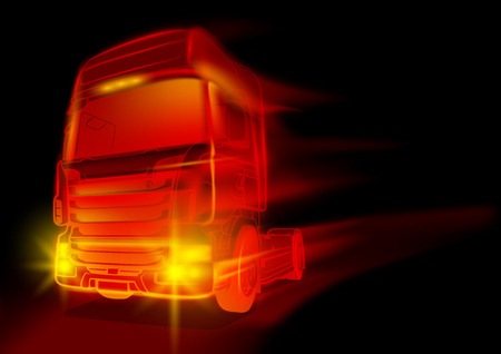 abstract fire: Red Glowing Truck - Abstract Illustration with Fire Effects, Vector