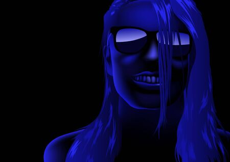 blue face: Blue Abstract Female Face - Background Illustration