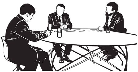 newsman: TV Discussion - Newsman and Guests - Black and White Illustration, Vector