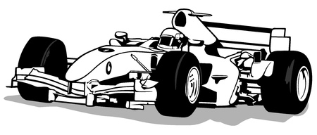 stock clip art: Formula One - Driver And Racing Car Illustration