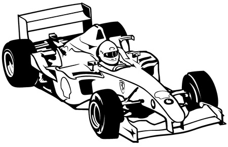 Formula One - Driver And Racing Car Illustration, Vector 矢量图像