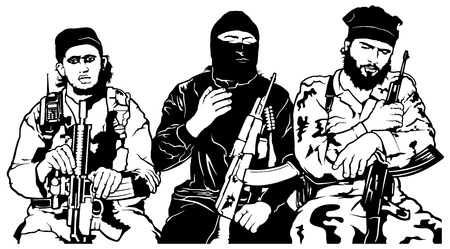 Terrorists - Armed Group - Black and White Illustration, Vector