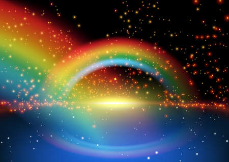 horizon reflection: Glowing Rainbow and Starry Background Illustration