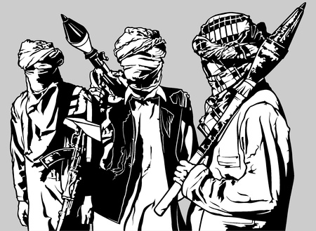 fanaticism: Terrorists - Armed Group with Rocket Launcher - Black Illustration, Vector