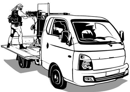 Terrorist with Machine Gun on Pick Up Car - Illustration, Vector Vectores