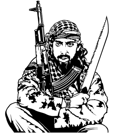 fanaticism: Sitting Terrorist Holding Long Knife and Submachine Gun - Illustration, Vector